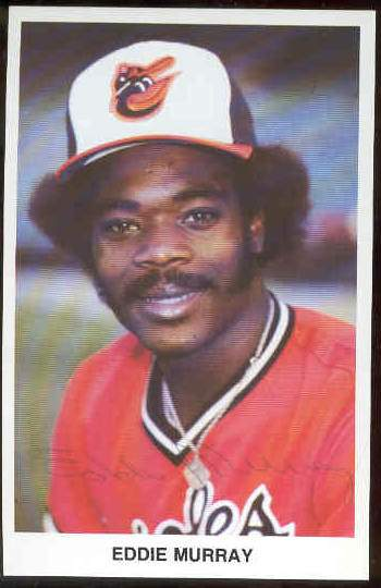 Eddie Murray - AUTOGRAPHED Postcard (orange jersey,no sleeves) (Orioles) Baseball cards value