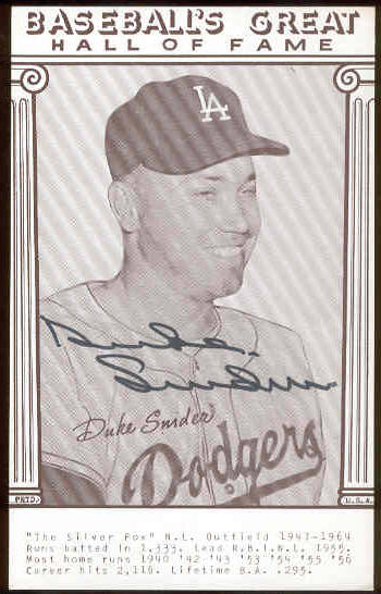 Duke Snider - AUTOGRAPHED 'Baseball's Great' Exhibit Card (Dodgers) Baseball cards value