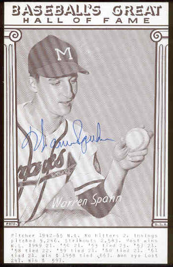 Warren Spahn - AUTOGRAPHED 'Baseball's Great' Exhibit Card (Braves) Baseball cards value