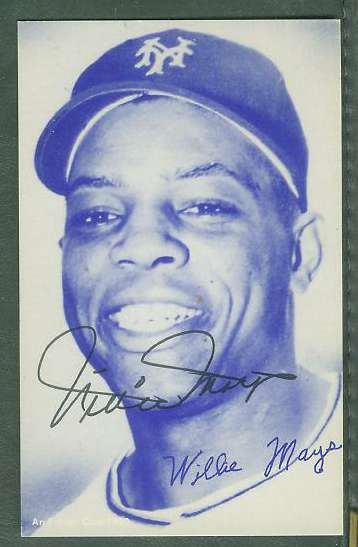 Willie Mays - AUTOGRAPHED 1980 Exhibit Postcard (NY Giants) Baseball cards value