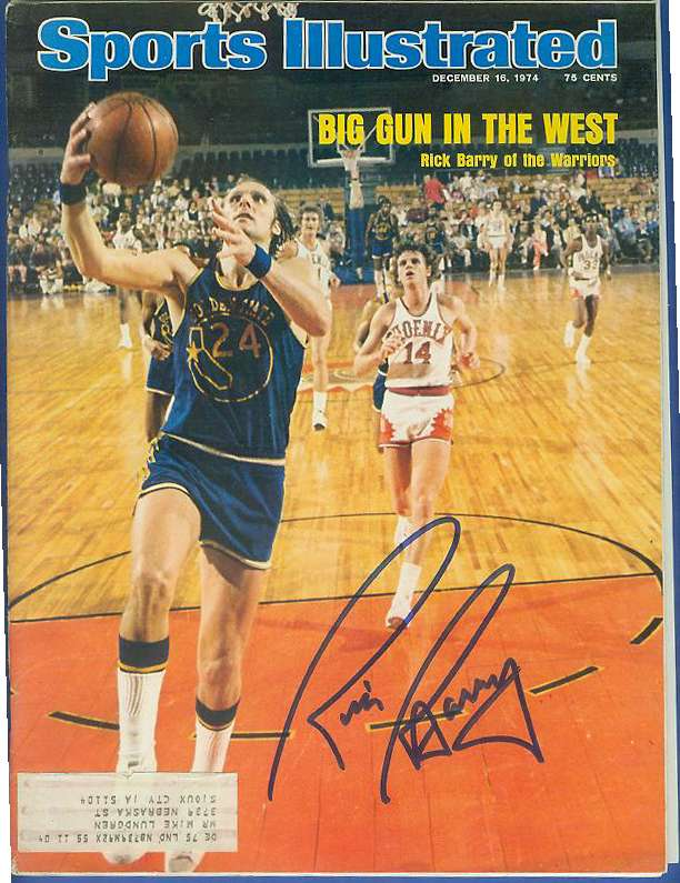Rick Barry - AUTOGRAPHED 1974 SPORTS ILLUSTRATED (Warriors) Basketball cards value