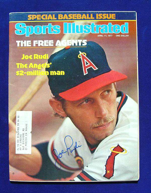Joe Rudi - AUTOGRAPHED 1977 SPORTS ILLUSTRATED (Angels) Baseball cards value