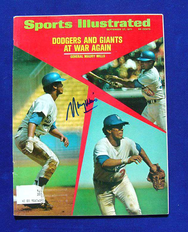 Maury Wills - AUTOGRAPHED 1971 SPORTS ILLUSTRATED (Dodgers) Baseball cards value