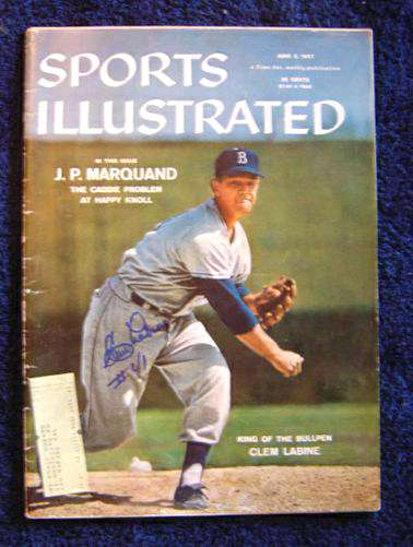Clem Labine - AUTOGRAPHED 1957 Sports Illustrated (Brooklyn Dodgers) Baseball cards value