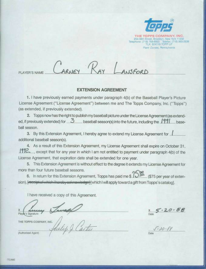 Carney Lansford - SIGNED 1991 Topps Baseball Card Contract (Autographed) Baseball cards value