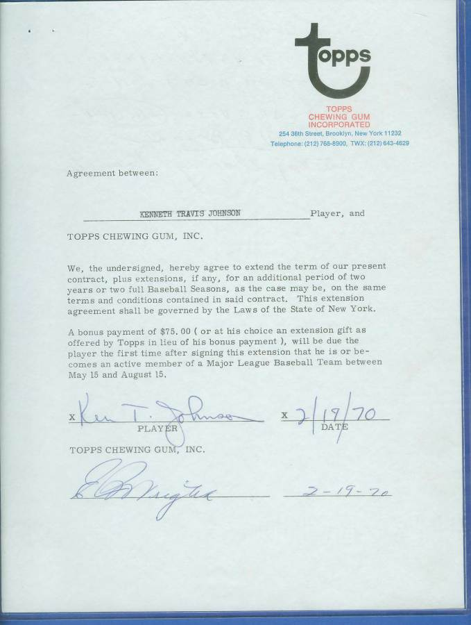 Ken Johnson - SIGNED 1970 Topps Baseball Card Contract (Autographed) Baseball cards value