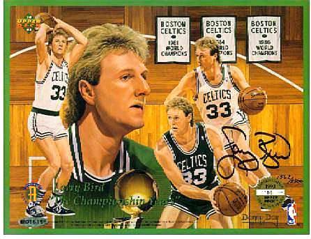 Larry Bird - UDA AUTOGRAPHED Commemorative 8-1/2 x 11 Sheet (Celtics) Basketball cards value