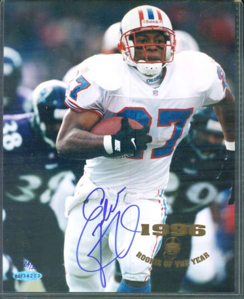 Eddie George - UDA AUTOGRAPHED '1996 ROOKIE OF THE YEAR' Color 8x10 Football cards value