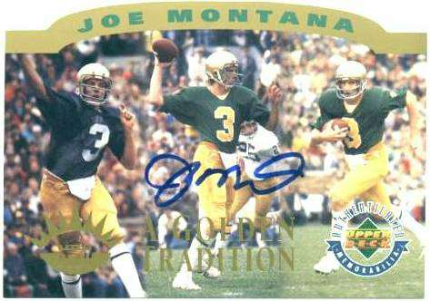 Joe Montana - UDA AUTOGRAPHED 'Golden Tradition' UDA Commemorative card Football cards value