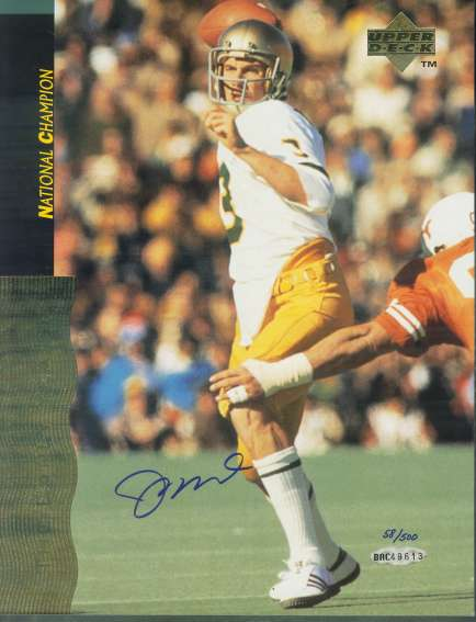 Joe Montana - UDA AUTOGRAPHED Notre Dame 'National Champ' Color 8x10 Football cards value