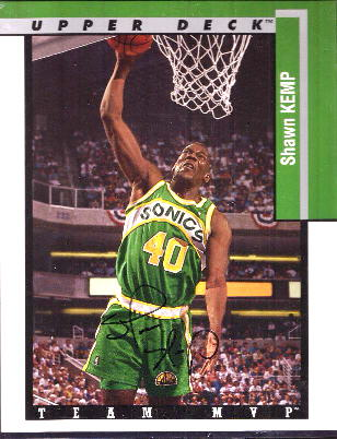 Shawn Kemp - UDA AUTOGRAPHED LIMITED EDTION 1994-95 Blow-up 8x10 (Sonics) Basketball cards value