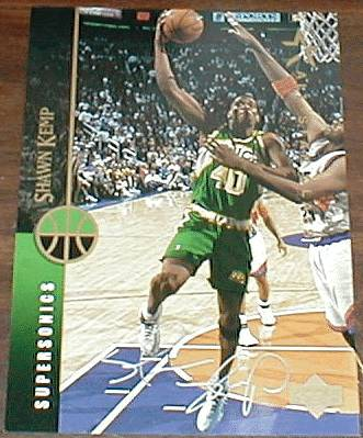 Shawn Kemp - UDA AUTOGRAPHED 'Team MVP' Blow-up 8x10 (Sonics) Basketball cards value