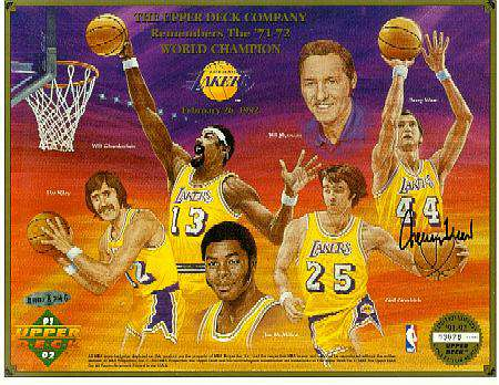 Jerry West - UDA AUTOGRAPHED 1971-72 Lakers World Champions Commemorative Basketball cards value