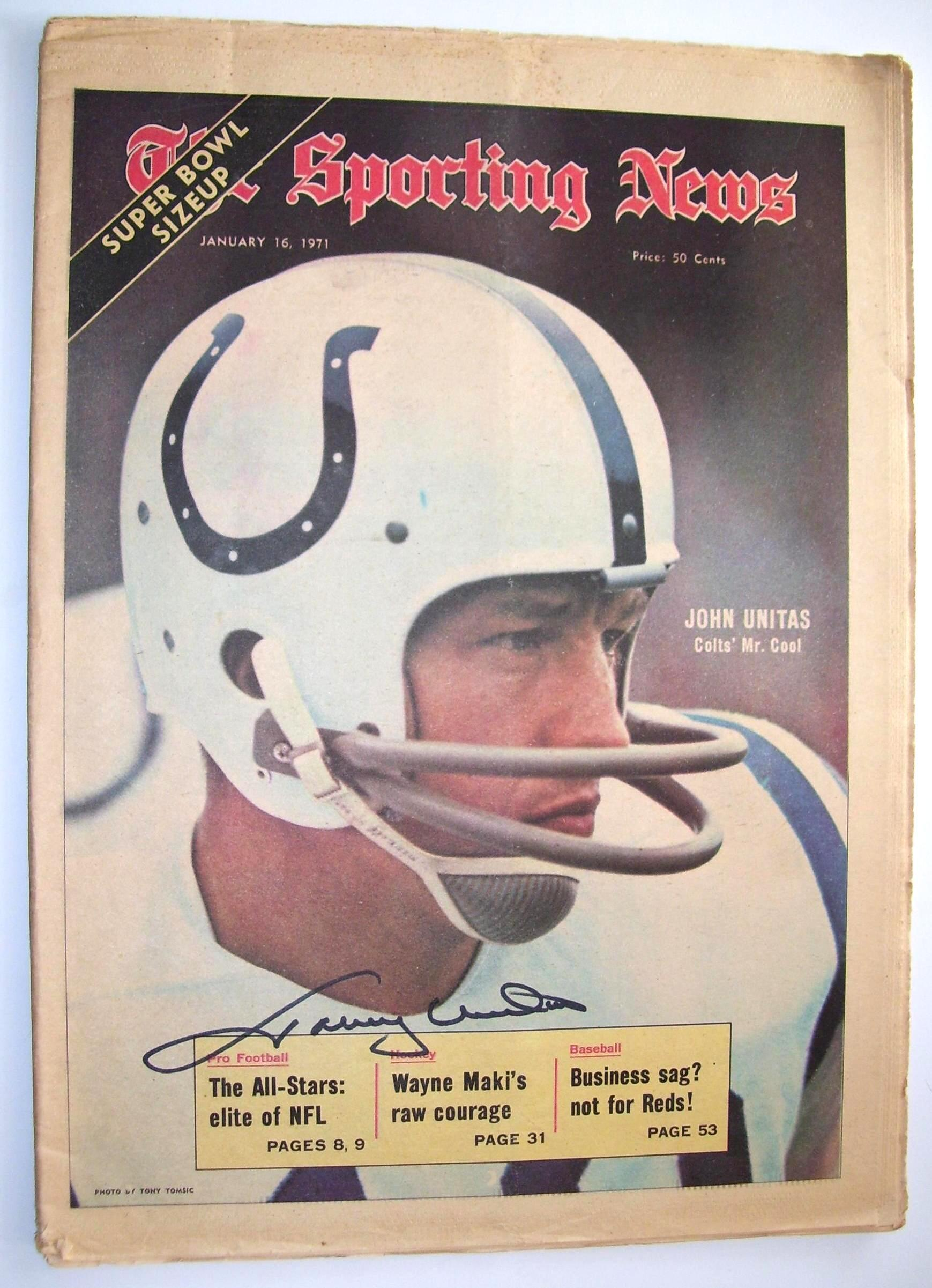 Johnny Unitas - AUTOGRAPHED SPORTING NEWS (1-16-71) (Colts) Baseball cards value