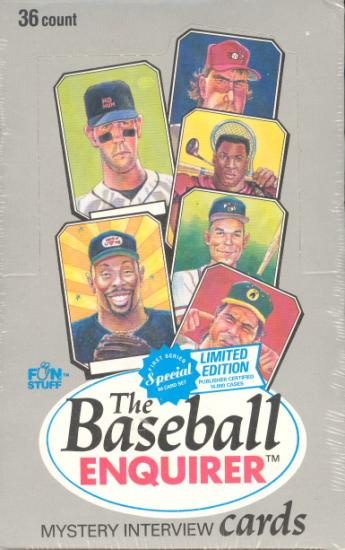1992 Baseball Enquirer - WAX BOX (36 packs,8 cards/pack) Baseball cards value
