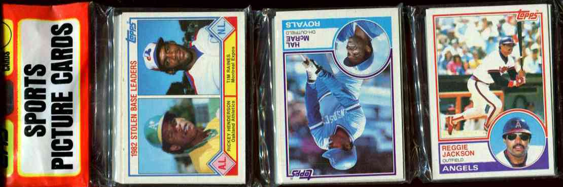 1983 Topps rack - With Reggie Jackson showing on TOP w/Henderson & Raines Baseball cards value