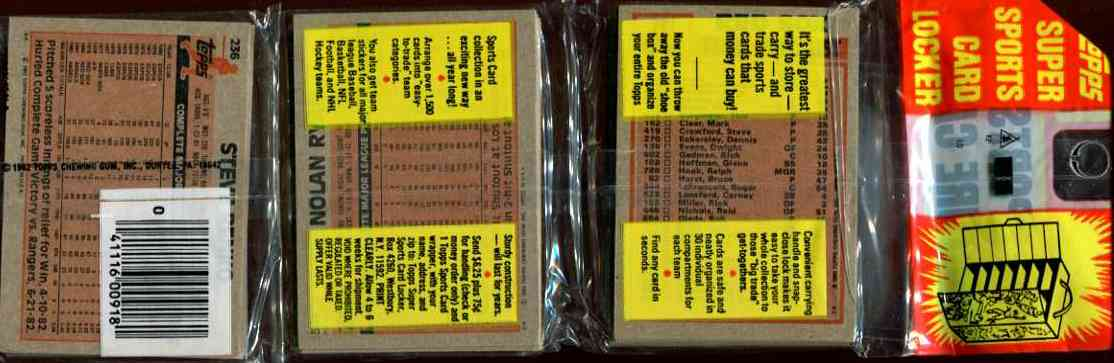 1983 Topps rack - With NOLAN RYAN on BOTTOM & Don Sutton on TOP Baseball cards value