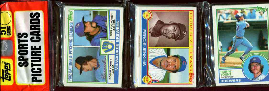 1983 Topps rack - 3 HALL-of-FAMERS on TOP !!! (2) Robin Yount + Jenkins Baseball cards value