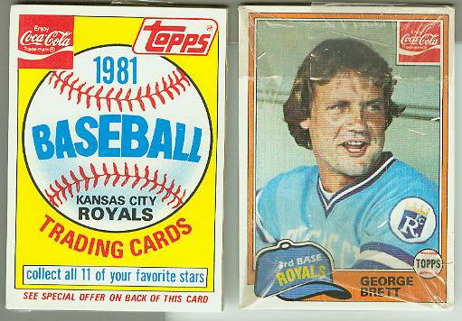 1981 Topps/Coca-Cola cello pack - with GEORGE BRETT showing on TOP !!! Baseball cards value