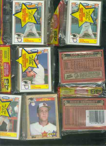 Cal Ripken - Showing on TOP of (7) sealed rack packs - ALL DIFF. CARDS!!! Baseball cards value