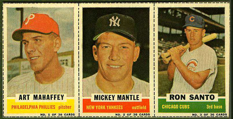 1961 Bazooka COMPLETE PANEL #.1/2/3 MICKEY MANTLE/Ron Santo/Art Mahaffey Baseball cards value