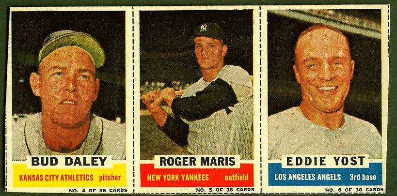 1961 Bazooka COMPLETE PANEL #.4/5/6 ROGER MARIS/Bud Daley/Eddie Yost Baseball cards value