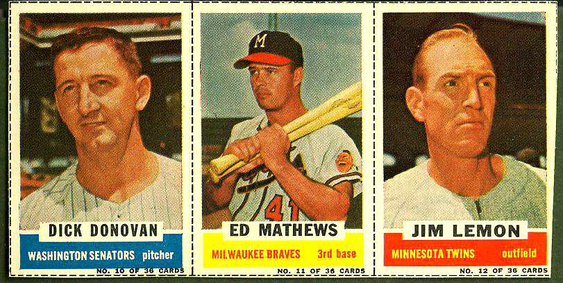 1961 Bazooka COMPLETE PANEL #10-12 EDDIE MATHEWS/Dick Donovan/Jim Lemon Baseball cards value