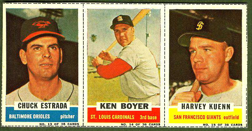 1961 Bazooka COMPLETE PANEL #13-15 Ken Boyer/Harvey Kuenn/Chuck Estrada Baseball cards value
