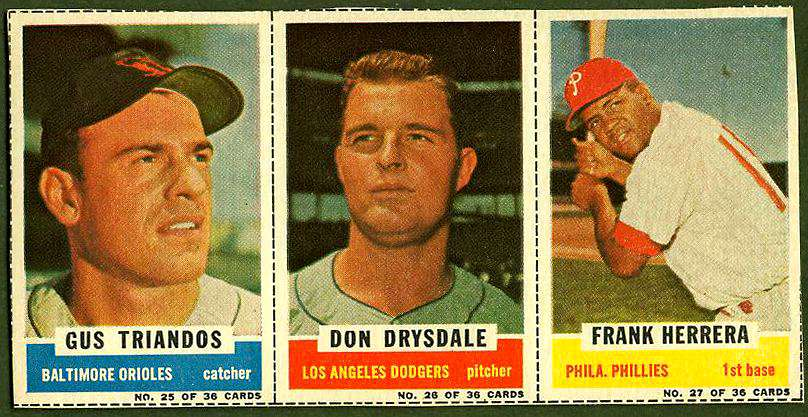 1961 Bazooka COMPLETE PANEL #25-27 DON DRYSDALE/Gus Triandos/Frank Herrera Baseball cards value