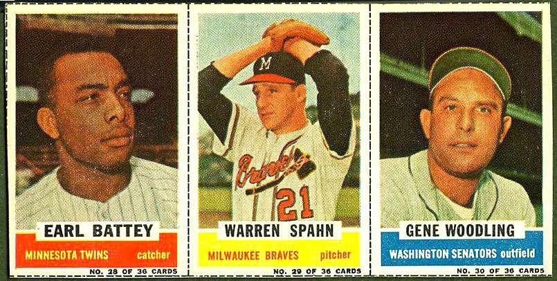 1961 Bazooka COMPLETE PANEL #28-30 WARREN SPAHN/Earl Battey/Gene Woodling Baseball cards value