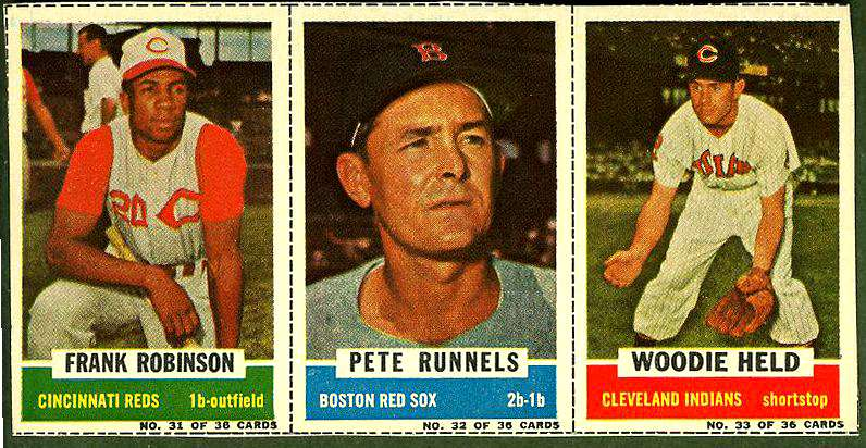 1961 Bazooka COMPLETE PANEL #31-33 FRANK ROBINSON/Pete Runnels/Woodie Held Baseball cards value