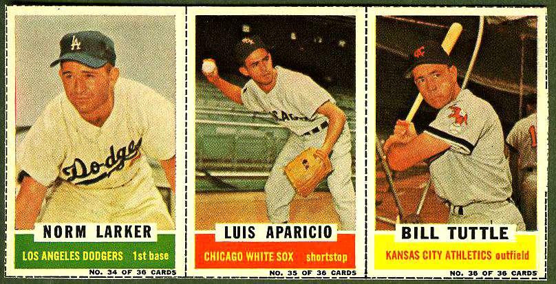 1961 Bazooka COMPLETE PANEL #34-36 LUIS APARICIO/Norm Larker/Bill Tuttle Baseball cards value