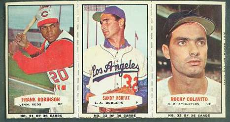 1964 Bazooka COMPLETE PANEL #31-33 SANDY KOUFAX/Frank Robinson ... Baseball cards value
