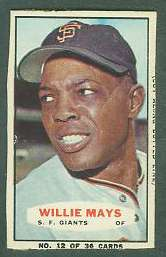 1964 Bazooka #12 WILLIE MAYS (Giants) Baseball cards value