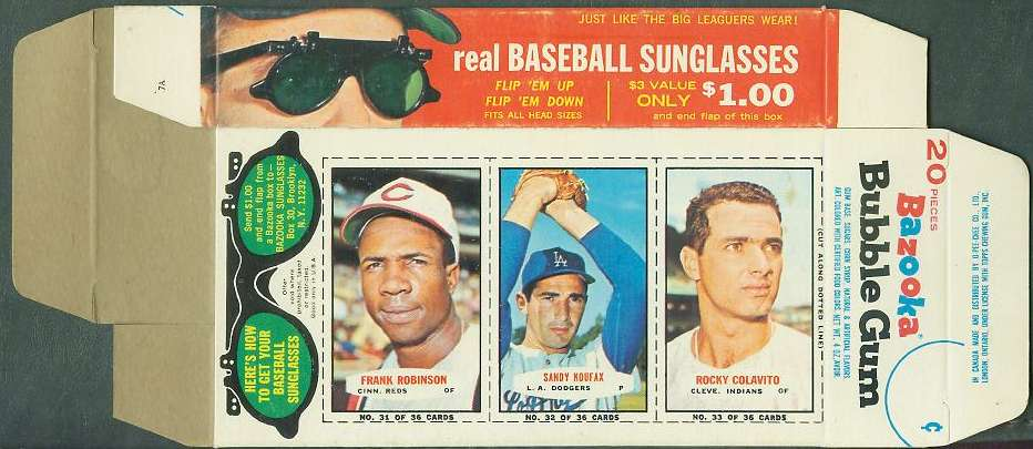 1965 Bazooka COMPLETE BOX #31-33 SANDY KOUFAX/Frank Robinson ... Baseball cards value