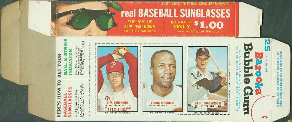 1966 Bazooka COMPLETE BOX #31-33 FRANK ROBINSON/Jim Bunning/Moose Skowron Baseball cards value