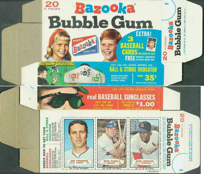 1967 Bazooka COMPLETE BOX #19-21 BOB GIBSON/Jim Fregosi/Ron Fairly Baseball cards value