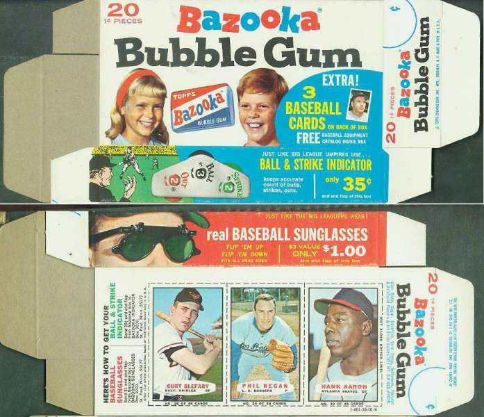 1967 Bazooka COMPLETE BOX #28-31 HANK AARON/Curt Blefary/Phil Regan Baseball cards value