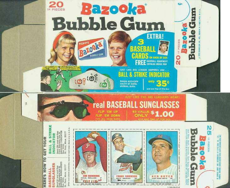 1967 Bazooka COMPLETE BOX #31-33 FRANK ROBINSON/Jim Bunning/Ken Boyer Baseball cards value