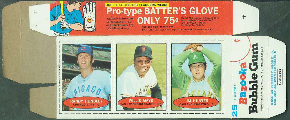 1971 Bazooka COMPLETE BOX - WILLIE MAYS/Jim 'Catfish' Hunter/Randy Hundley Baseball cards value