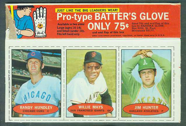 1971 Bazooka BOX - WILLIE MAYS/Jim 'Catfish' Hunter/Randy Hundley Baseball cards value