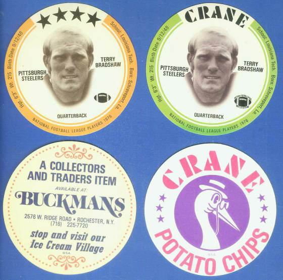 1976 Buckmans FB Disc #.3 Terry Bradshaw (Steelers) Football cards value