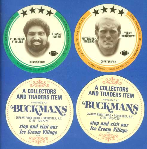 1976 Buckmans FB Discs #lot Terry Bradshaw & Franco Harris (Steelers) Football cards value