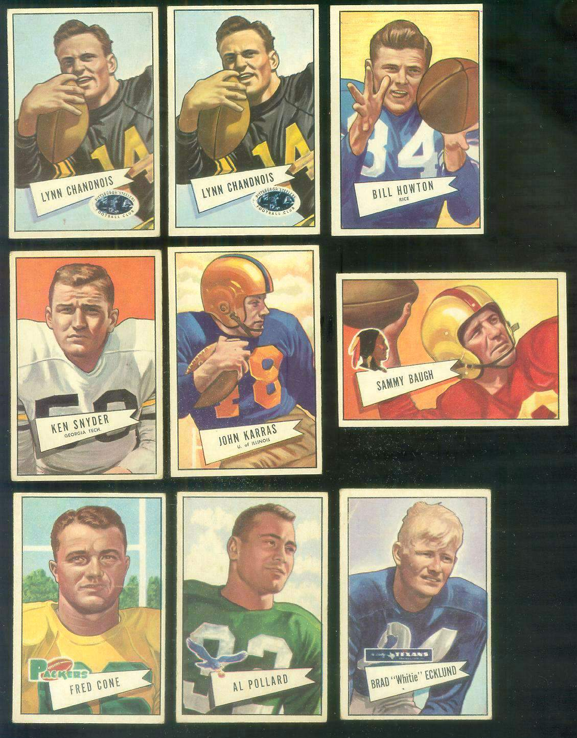1952 Bowman Small FB #.20 Lynn Chandnois (Steelers) Football cards value