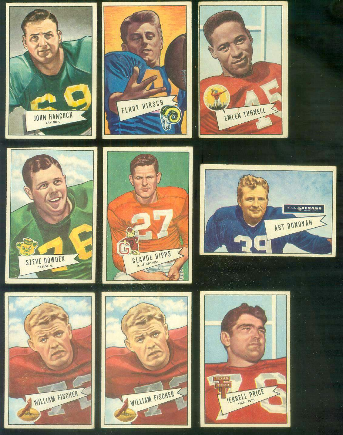 1952 Bowman Small FB #.49 Jerrell Price (Chicago Cardinals) Football cards value
