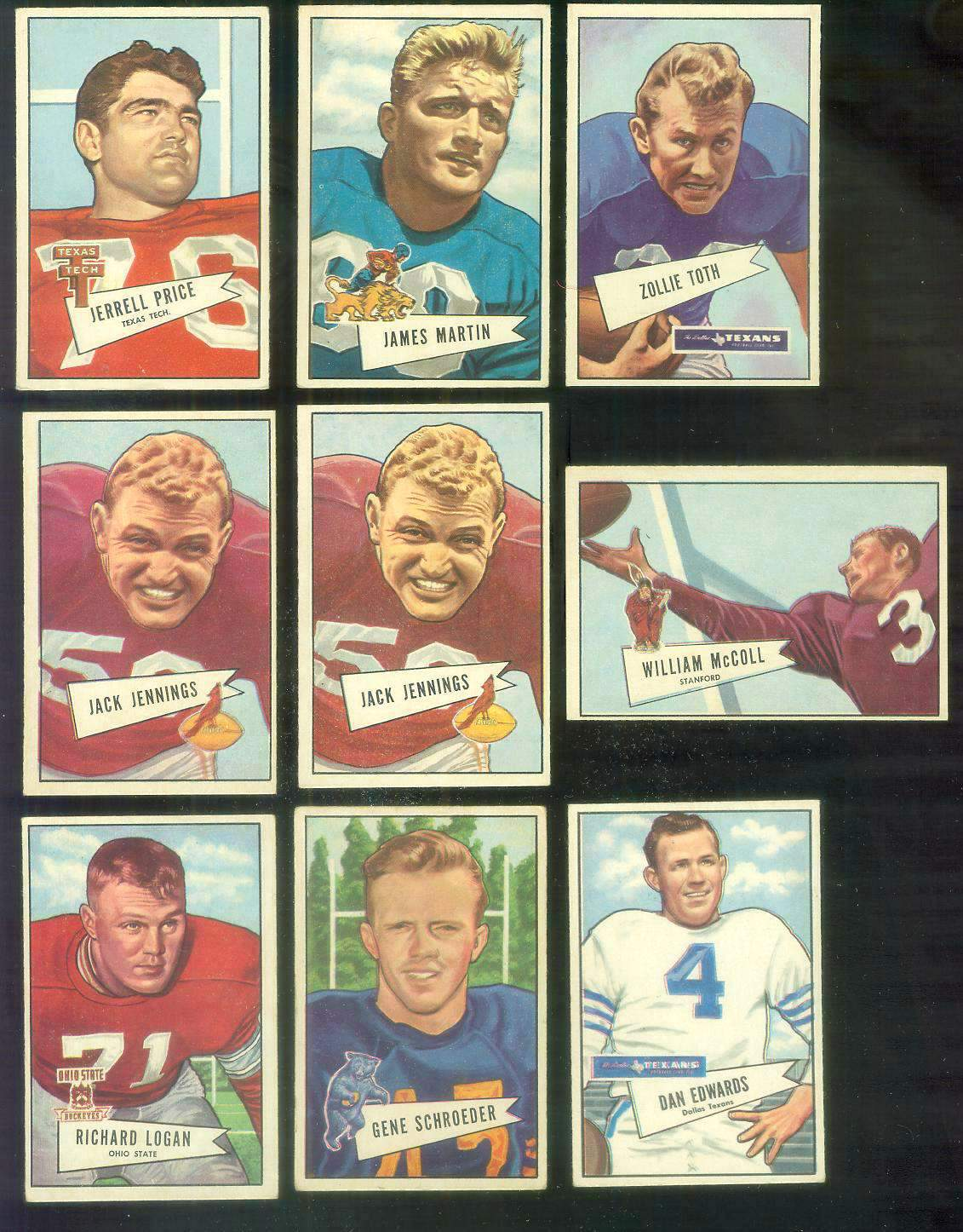1952 Bowman Small FB #.77 Dan Edwards (Dallas Texans) Football cards value