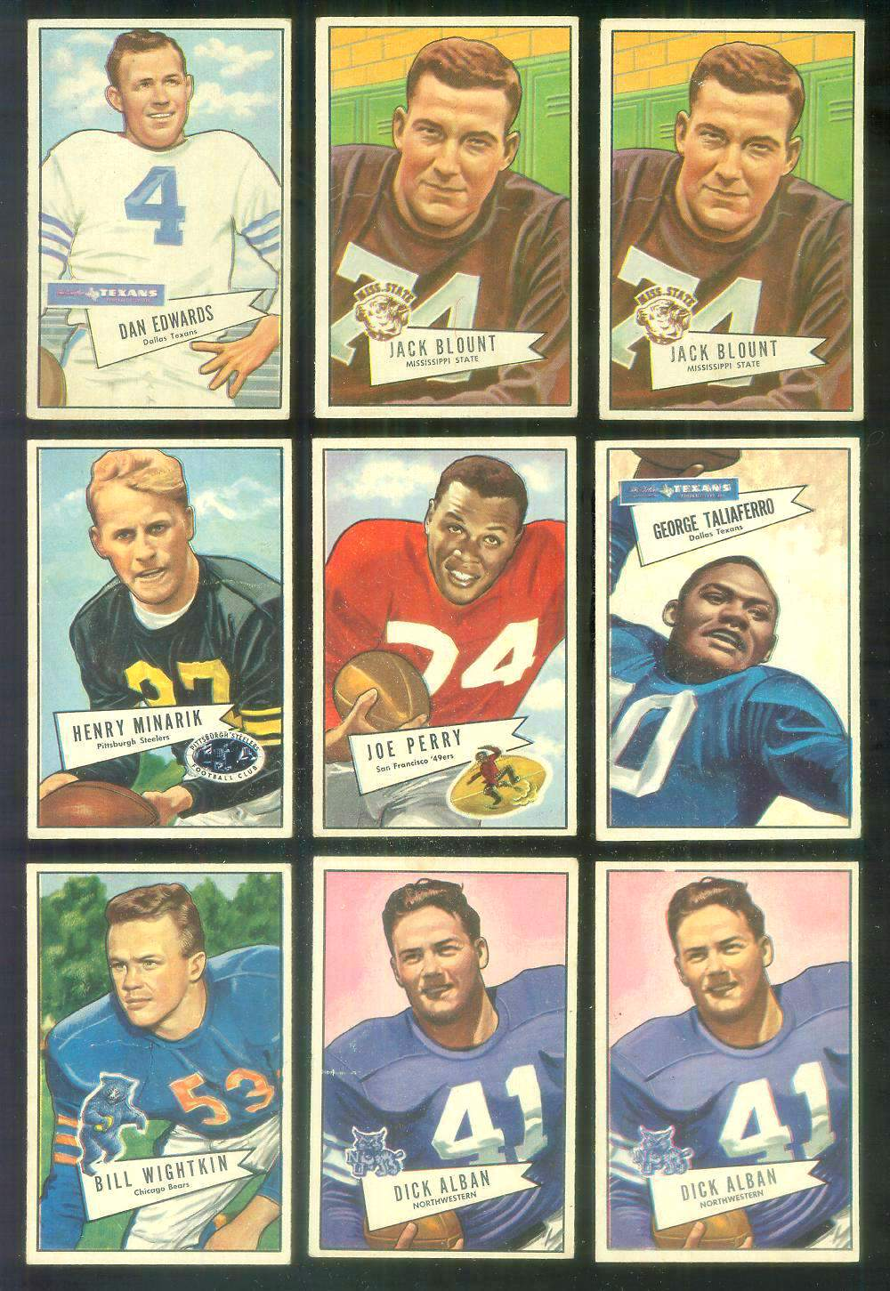 1952 Bowman Small FB #.82 Harry Minarik (Steelers) Football cards value