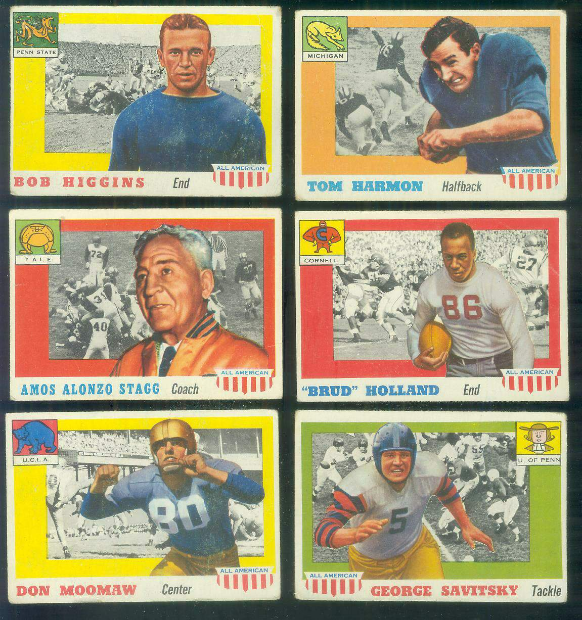 1955 Topps ALL-AMERICAN FB #.35 Tom Harmon ROOKIE SHORT PRINT (Michigan) Football cards value