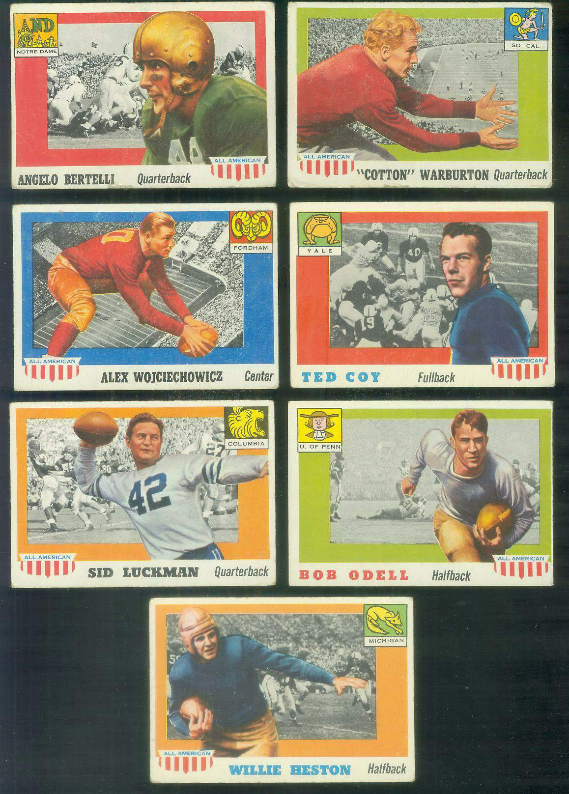 1955 Topps ALL-AMERICAN FB #.85 Sid Luckman Football cards value