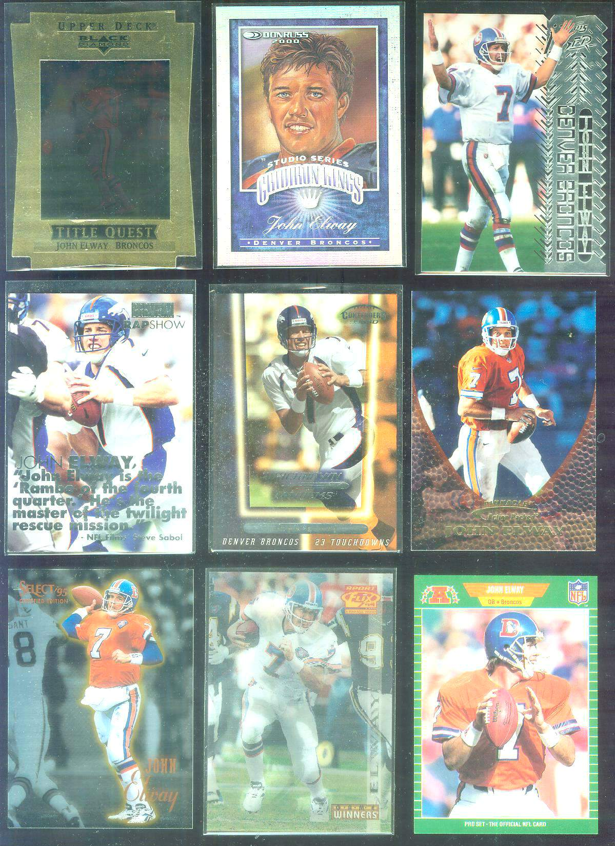 1997 Black Diamond 'Title Quest' #8 John Elway Football cards value
